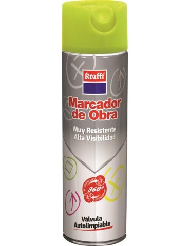 CAJA DE 12 SPRAY MARCADOR OBRA 63315 360º AMARILLO 650 ML