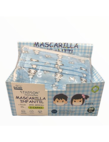 PACK 10 MASCARILLAS INFANTILES 3 CAPAS AZUL DIBUBOS